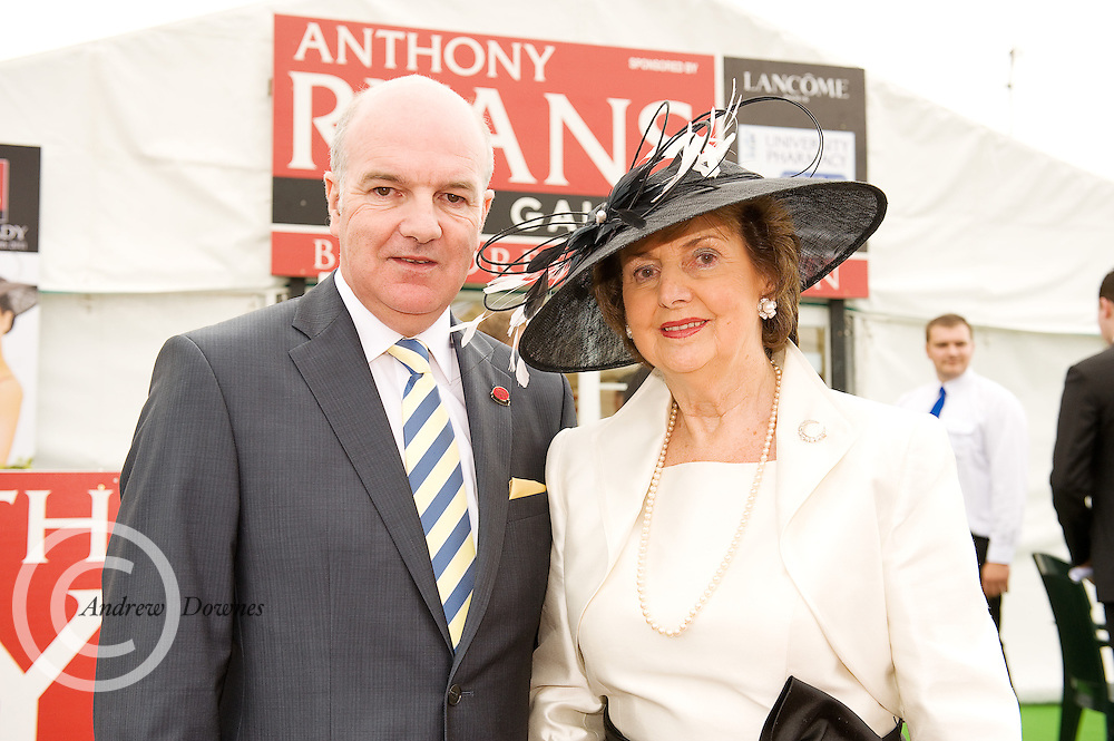 Anthony Ryan and Mrs. Breda Ryan at the Anthony Ryan Best Dressed Lady Competition at the Galway Races. Photo:Andrew Downes...