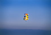 Ninomiya, who has flown with helium balloons more than a dozen times, needs the calm pre-dawn conditions for a successful flight, which will last a few hours and take him to 4200 feet.