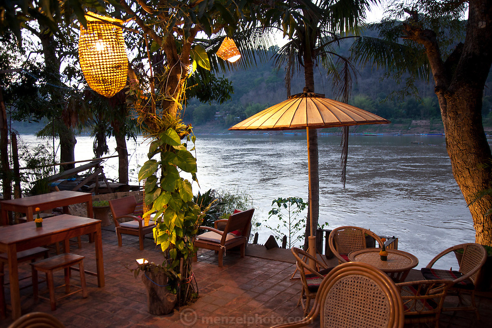 Luang Prabang, Laos. Restaurant along the Mekong Riverside.