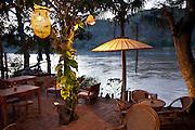 Luang Prabang, Laos. Restaurant along the Mekong Riverside.