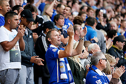 A Leicester City fan applauds his side - Photo mandatory by-line: Rogan Thomson/JMP - Mobile: 07966 386802 16/08/2014 - SPORT - FOOTBALL - Leicester - King Power Stadium - Leicester City v Everton - Barclays Premier League