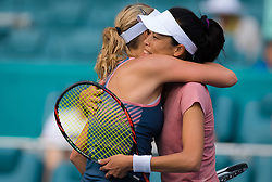March 26, 2019 - Miami, FLORIDA, USA - Anett Kontaveit of Estonia & Su-Wei Hsieh of Chinese Taipeh at the net after their quarter-final match at the 2019 Miami Open WTA Premier Mandatory tennis tournament (Credit Image: © AFP7 via ZUMA Wire)