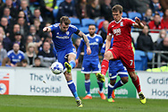 Joe Ralls of Cardiff city (l) has a shot at goal. EFL Skybet championship match, Cardiff city v Birmingham City at the Cardiff City Stadium in Cardiff, South Wales on Saturday 11th March 2017.<br /> pic by Andrew Orchard, Andrew Orchard sports photography.