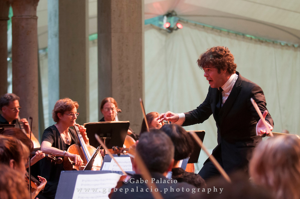 Pablo Heras-Casado conducting the Orchestra of St. Luke's  in the Venetian Theater at Caramoor on July 15, 2012..photo by Gabe Palacio