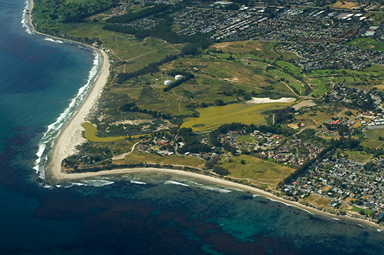 View of Devereux Lagoon, near the UCSB Campus, from the air looking northwest.
