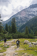 3 hikers in Austria, Zillertal High Alpine nature Park Hochgebirgs Naturpark near Ginzling, Tyrol