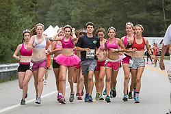 Cape Elizabeth High cross country team in tutus and tiaras