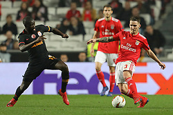 February 21, 2019 - Lisbon, Portugal - Badou Ndiaye of Galatasaray AS (L) vies for the ball with Álex Grimaldo of SL Benfica (R) during the Europa League 2018/2019 footballl match between SL Benfica vs Galatasaray AS. (Credit Image: © David Martins/SOPA Images via ZUMA Wire)
