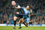 Celtic's Scott Brown (8) and Manchester City's Leroy Sane (19) during the Champions League match between Manchester City and Celtic at the Etihad Stadium, Manchester, England on 6 December 2016. Photo by Craig Galloway.