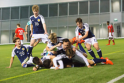 Scotland's Jamie Semple (9) cele scoring their first goal. half time : Scotland 2 v 0 Wales, Under 16 Victory Shield, Oriam 1/11/2016.