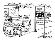 (Man filling car at petrol station pumps while petrol prices increase)