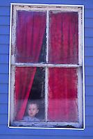 Boy in a window, West Virginia, USA 1978