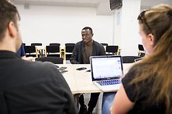 August 2, 2017 - MalmÅ, Sverige - 170802 Bonke Innocent intervjuas under en presstrÅff den 2 augusti 2017 i MalmÅ (Credit Image: © Mathilda Ahlberg/Bildbyran via ZUMA Wire)