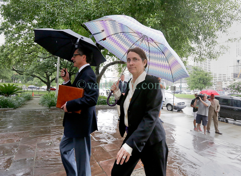 12 June  2015. New Orleans, Louisiana. <br /> Renee LeBlanc arrives at Civil District Court on the last day of a hearing to determine the competency of  her father Tom Benson. Benson is the billionaire owner of the NFL New Orleans Saints, the NBA New Orleans Pelicans, various auto dealerships, banks, property assets and a slew of business interests. Rita, her brother and mother demanded a competency hearing after Benson changed his succession plans and decided to leave the bulk of his estate to third wife Gayle, sparking a controversial fight over control of the Benson business empire.<br /> Photo©; Charlie Varley/varleypix.com
