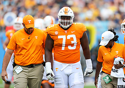 Sep 1, 2018; Charlotte, NC, USA; Tennessee Volunteers offensive lineman Trey Smith (73) walks off the field after an injury during the second quarter against the West Virginia Mountaineers at Bank of America Stadium. Mandatory Credit: Ben Queen-USA TODAY Sports