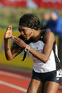 Super 8 athletics at the Cardiff International Stadium on Wed 10th June 2009. Tasha Danvers of London South after her win in the Womens 100m hurdles race.