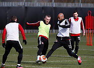 Oli McBurnie of Sheffield Utd and David McGoldrick of Sheffield Utd  during a training session at the Steelphalt Academy, Sheffield. Picture date: 5th March 2020. Picture credit should read: Simon Bellis/Sportimage