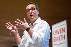 © Licensed to London News Pictures. 23/08/2016. London, UK. Labour leadership candidate OWEN SMITH speaks to local Labour members about his plans for tackling inequality and low pay, and increasing investment in the NHS at Lyric Theatre in Hammersmith, London on Tuesday, 23 August 2016. Photo credit: Tolga Akmen/LNP