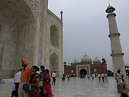 Evening stroll on the terrace of the Taj Mahal, Agra, backside view
