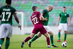 Egzon Kryeziu of NK Triglav Kranj and Tomislav Tomic of NK Olimpija Ljubljana during football match between NK Olimpija Ljubljana and NK Triglav Kranj in Round #31 of Prva liga Telekom Slovenije 2017/18, on May 6, 2018 in SRC Stozice, Ljubljana, Slovenia. Photo by Urban Urbanc / Sportida