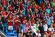 Bournemouth fans applaud their team at the final whistle at the EFL Sky Bet Championship match between Cardiff City and Bournemouth at the Cardiff City Stadium, Cardiff, Wales on 18 September 2021.