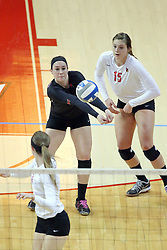 17 October 2014:  Emily Orrick and Ashley Rosch during an NCAA Missouri Valley Conference (MVC) womens volleyball match between the Northern Iowa Panthers and the Illinois State Redbirds for 1st place in the conference at Redbird Arena in Normal IL
