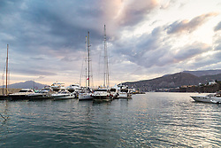 Sorrento, Italy, September 20 2017. Moored cruisers and yachts as dawn breaks in Marina Piccolo in Sorrento, Italy. © Paul Davey