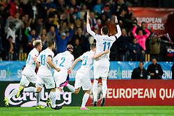 Players of Slovenia celebrate during the UEFA EURO 2016 Play-off for Final Tournament, Second leg between Slovenia and Ukraine, on November 17, 2015 in Stadium Ljudski vrt, Maribor, Slovenia. Photo by Urban Urbanc / Sportida