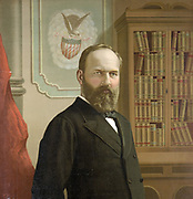 James Abram Garfield (1831-1891), a Rebublican, 20th President of the United States of America 1891. Shot on 2 July, be died of his wounds on 19 September by Charles J Guiteau.  Half length portrait of Garfield.
