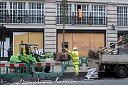 In advance of a re-opening of businesses and before a change to a Tier 2 for London during the second wave of the Coronavirus pandemic,  on 30th November 2020, in London, England. WHile retailers have remained closed, construction and street repairs have continued throughout this phase of the pandemic.