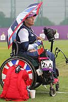 Paralympics London 2012 - ParalympicsGB - Archery Womens Individual Compound Open  30th August 2012<br />   <br /> Pippa Britton competing in the Womens Archery Individual Compound - Open Heats at the Paralympic Games in London. Photo: Richard Washbrooke/ParalympicsGB