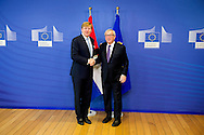 3-11-2015 BRUSSELS - King Willem Alexander  meets Lunch met Jean-Claude Juncker, voorzitter van de Europese Commissie.  King Willem Alexander visit the European Union in Brussels . COPYRIGHT ROBIN UTRECHT