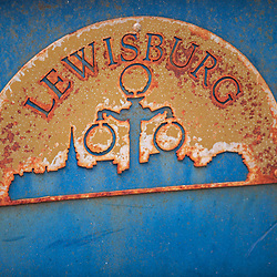 Lewisburg, PA / USA - November 4, 2017: A logo sign of Lewisburg on the information kiosk on Market Street in the downtown area.