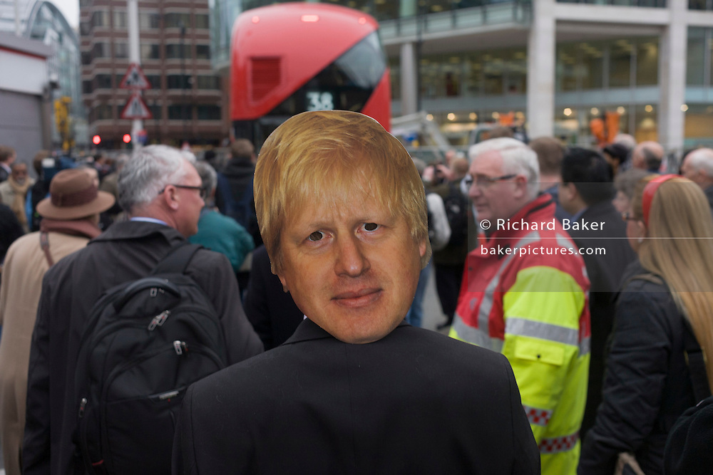 Anti-Boris Johnson Labour supporters disrupt the fanfare launch of London's newest red double-decker Routemaster (27th Feb 2012) bus which is seen in service on the capital's streets for the first time. The hybrid NB4L, or the Borismaster, New Routemaster or Boris Bus, is a 21st century replacement of the iconic Routemaster as a bus built specifically for use in London and is said to be 40 per cent more fuel efficient than conventional diesel buses. The brainchild of London's Conservative mayor Boris Johnson, its funding has been controversial amid massive fare increases in transport.