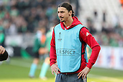 Zlatan Ibrahimovic Forward of Manchester United in warm up during the Europa League match between Saint-Etienne and Manchester United at Stade Geoffroy Guichard, Saint-Etienne, France on 22 February 2017. Photo by Phil Duncan.