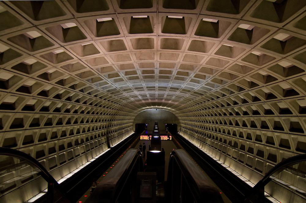 The Foggy Bottom GWU underground Metro train station in Washington, DC