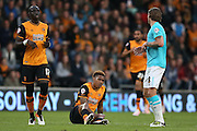 Hull City striker Abel Hernandez (9)  is fouled during the Sky Bet Championship play-off 2nd leg match between Hull City and Derby County at the KC Stadium, Kingston upon Hull, England on 17 May 2016. Photo by Simon Davies.