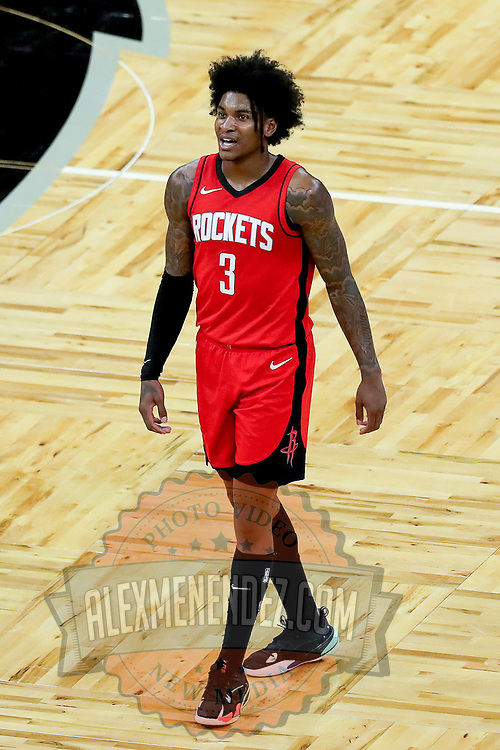 ORLANDO, FL - APRIL 18: Kevin Porter Jr. #3 of the Houston Rockets walks up the court against the Orlando Magic at Amway Center on April 18, 2021 in Orlando, Florida. NOTE TO USER: User expressly acknowledges and agrees that, by downloading and or using this photograph, User is consenting to the terms and conditions of the Getty Images License Agreement. (Photo by Alex Menendez/Getty Images)*** Local Caption *** Kevin Porter Jr.