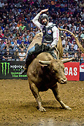 Colten Jesse riding bull during the 25th Professional Bull Riders  Unleash the Beast Music City Knockout in Nashville, Tenn., Friday, Aug 17, 2018. (Michelle Donovan/Image of Sport)