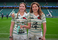 Rugby Union - 2019 (31st Women's) Varsity Match - Oxford University vs. Cambridge University<br /> <br /> Cambridge Sisters, Jenni Shuttleworth (right) and Captain, Fiona Shuttleworth, celebrate with the trophy after the match, at Twickenham.<br /> <br /> COLORSPORT/ANDREW COWIE