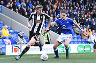 Notts County forward Jonathan Stead (30) battles with Chesterfield defender Sid Nelson (35) during the EFL Sky Bet League 2 match between Chesterfield and Notts County at the b2net stadium, Chesterfield, England on 25 March 2018. Picture by Jon Hobley.