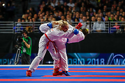 November 10, 2018 - Madrid, Madrid, Spain - Chatziliadou Eleni (GRE) figth with Uekusa Ayumi (JPN) for the gold medal and win the tournament of Female Kumite 68+ Kg during the Finals of Karate World Championship celebrates in Wizink Center, Madrid, Spain, on November 10th, 2018. (Credit Image: © AFP7 via ZUMA Wire)