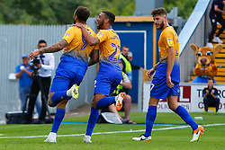 CJ Hamilton of Mansfield Town celebrates with Craig Davies of Mansfield Town - Mandatory by-line: Ryan Crockett/JMP - 18/08/2018 - FOOTBALL - One Call Stadium - Mansfield, England - Mansfield Town v Colchester United - Sky Bet League Two