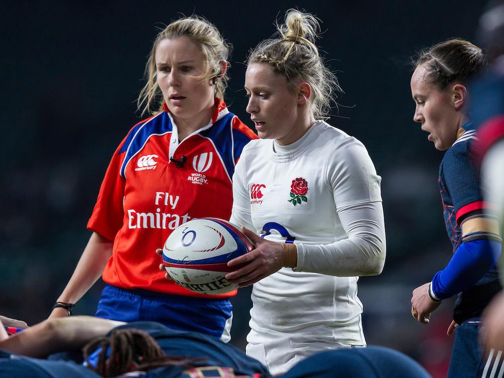 Referee Amy Perrett, Natasha Hunt and Jade Le Pesq at a scrum, England Women v France Women in a 6 Nations match at Twickenham Stadium, London, England, on 4th February 2017 Final Score 26-13.