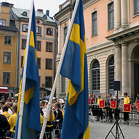 Europe, Sweden, Stockholm. Local band performs in Gamla Stan.