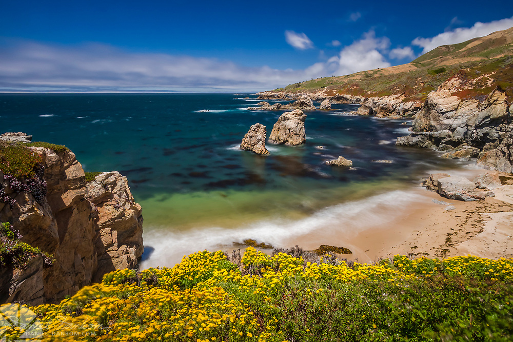 Looking north from Soberanes Cove on the Big Sur Coast, along Highway One, California