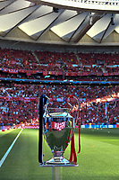 Football - 2019 UEFA Champions League Final - Liverpool vs. Tottenham Hotspur<br /> <br /> gv of ground with champions trophy in foreground at Wanda Metropolitano, Madrid.<br /> <br /> COLORSPORT/WINSTON BYNORTH