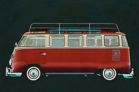 The Volkswagen Combi painted as a camper is a symbol of the 1960's. Not only hippies used this Volkswagen Combi but whole families travelled with it. Later the Volkswagen Combi was also used a lot in business. -<br />