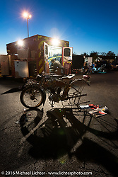 Kelly Modlin of Kansas working on his 1914 Excelsior as the sun was setting in Chillicothe, OH during the Motorcycle Cannonball Race of the Century. Stage-3 from Morgantown, WV to Chillicothe, OH. USA. Monday September 12, 2016. Photography ©2016 Michael Lichter.