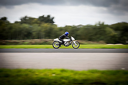 © Licensed to London News Pictures. 16/09/2017. York UK. Andy Bush races his TM Maverick along the runway at the Straighliners Top Speed weekend at Elvington airfield near York today. The eveny is similar to the famous Bonneville land speed events in the US only lower cost & more convenient for Europeans. Photo credit: Andrew McCaren/LNP